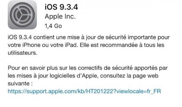 mise à jour IOS 9.3.4