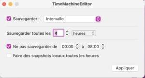 Modifier rythme sauvegardes TimeMachine